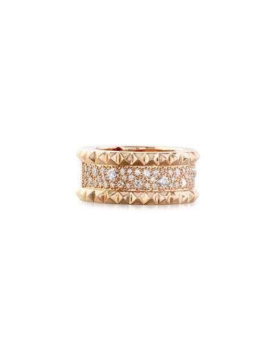 Roberto Coin 18k Rock & Diamond Double-Row Ring, Size 6.5