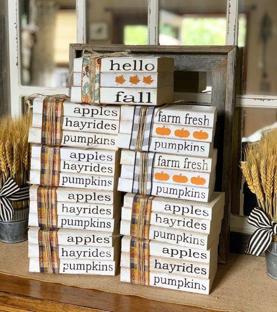 Fall Decor / Stamped Books / Fall decorations / Farmhouse decor / Tiered tray decor / Hello fall / P #tieredtraydecor