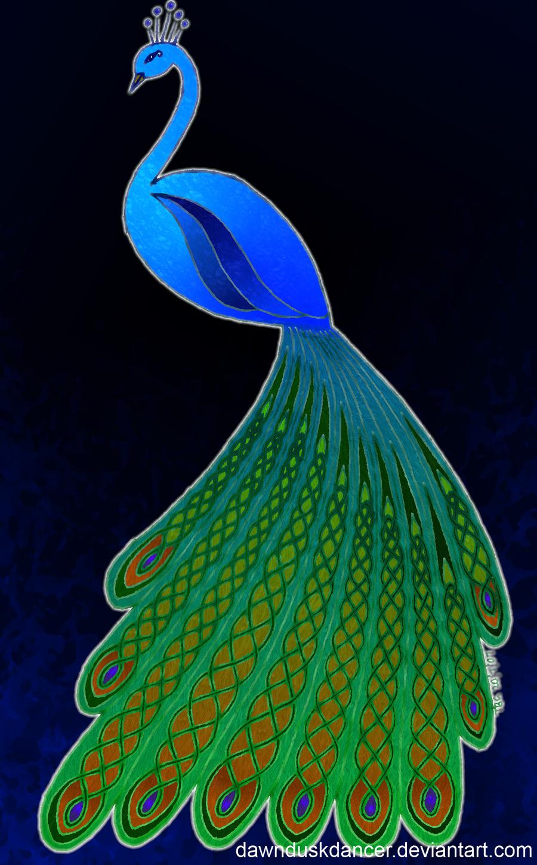 Celtic Peacock Coloured by dawnduskdancer.deviantart.com