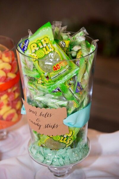 Calligraphy labels for candy buffet