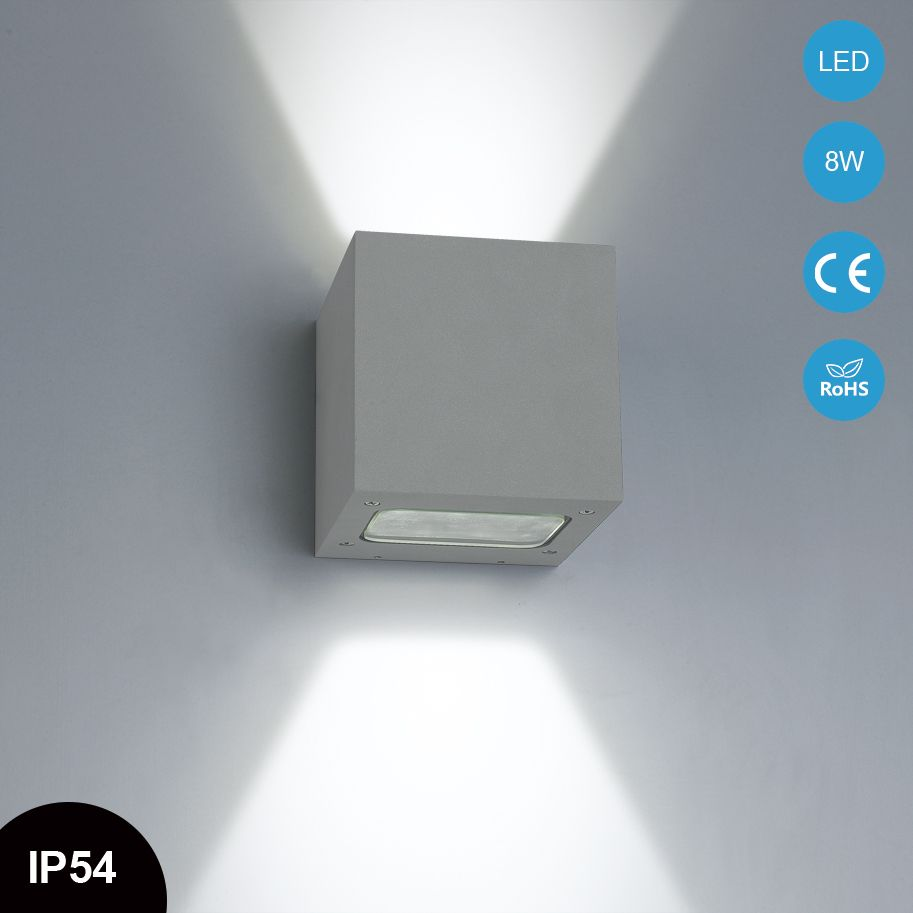 Hot Sale Square Ip54 Wall Scone Up And Down Outdoor Led Wall Light Wall Mounted Aluminum W3a0021 Wall Lights Led Wall Scones