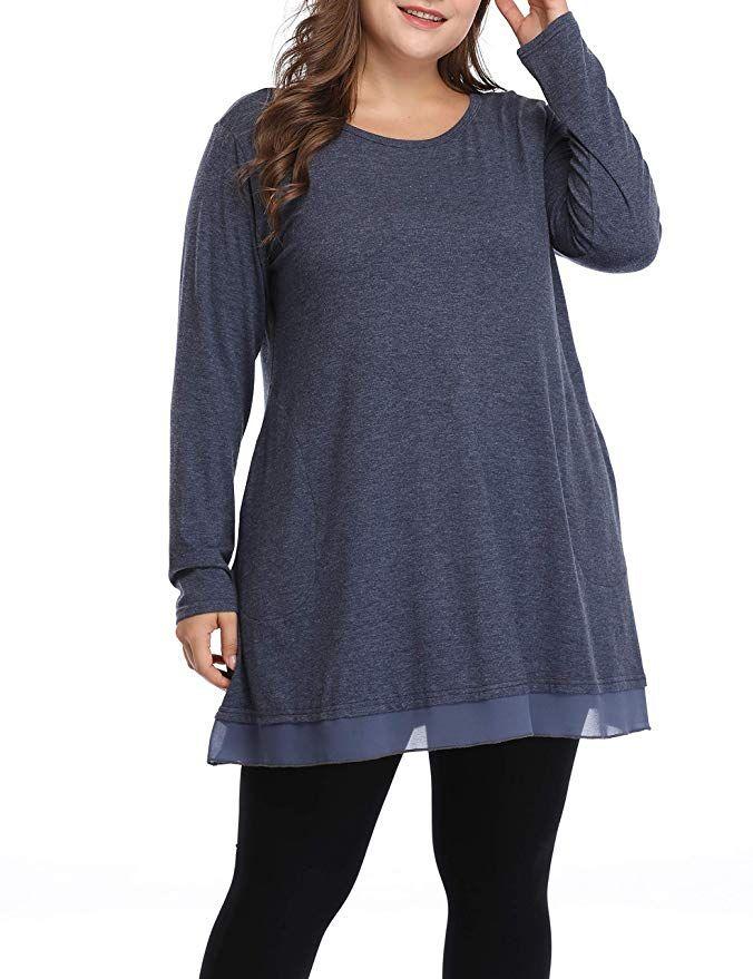 0b14bb4d4c0 Women Plus Size Spring Shirt Grace Lace Tunic Long Loose fit Top(Navy Blue