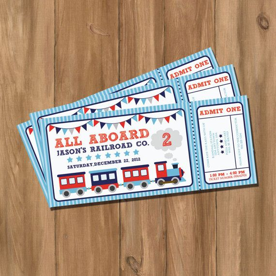 Choo Choo Train Ticket Birthday Party Invitation Digital DIY