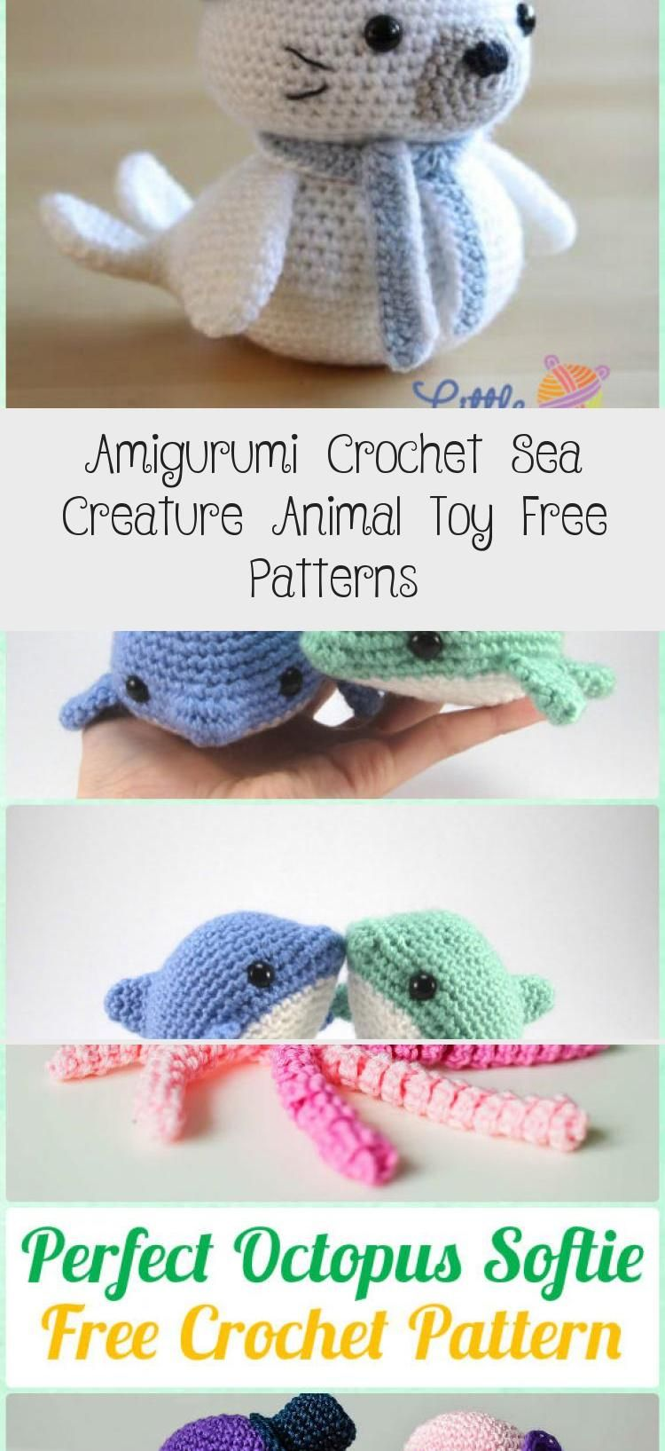 Amigurumi Crochet Sea Creature Animal Toy Free Patterns | 1635x750