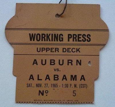 Alabama - Auburn Iron Bowl Press Pass 1965 Alabama 30 Auburn 3 62 #Alabama #RollTide #BuiltByBama #Bama #BamaNation #CrimsonTide #RTR #Tide #RammerJammer #IronBowl