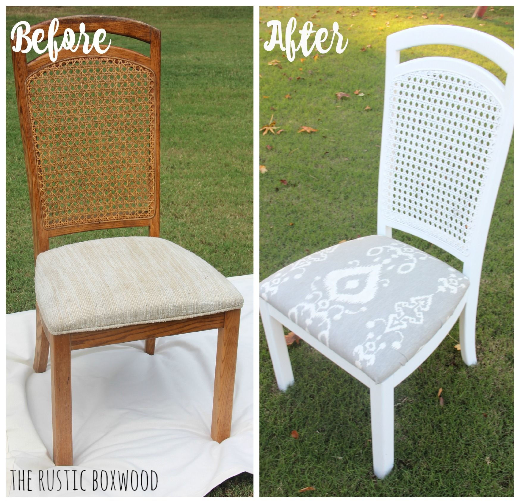 Thrifted And Distressed Cane Chair Makeover | The Rustic Boxwood |  Tutorial, How To, Diy, Cane Chairs, White, Before And After, Makeover, Reno,  Furniture ...