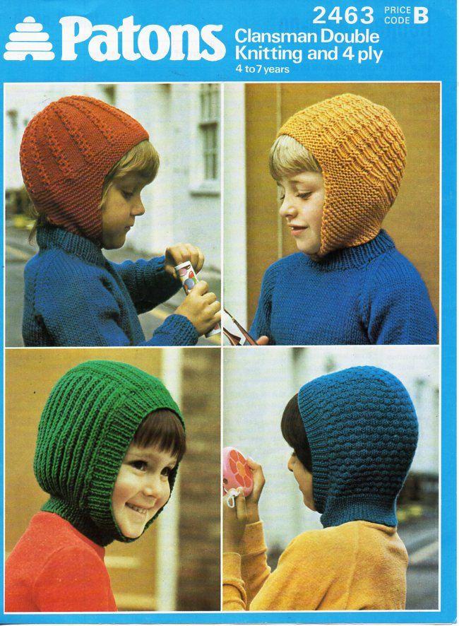 childrens hats knitting pattern pdf 4ply & DK childs helmets ...
