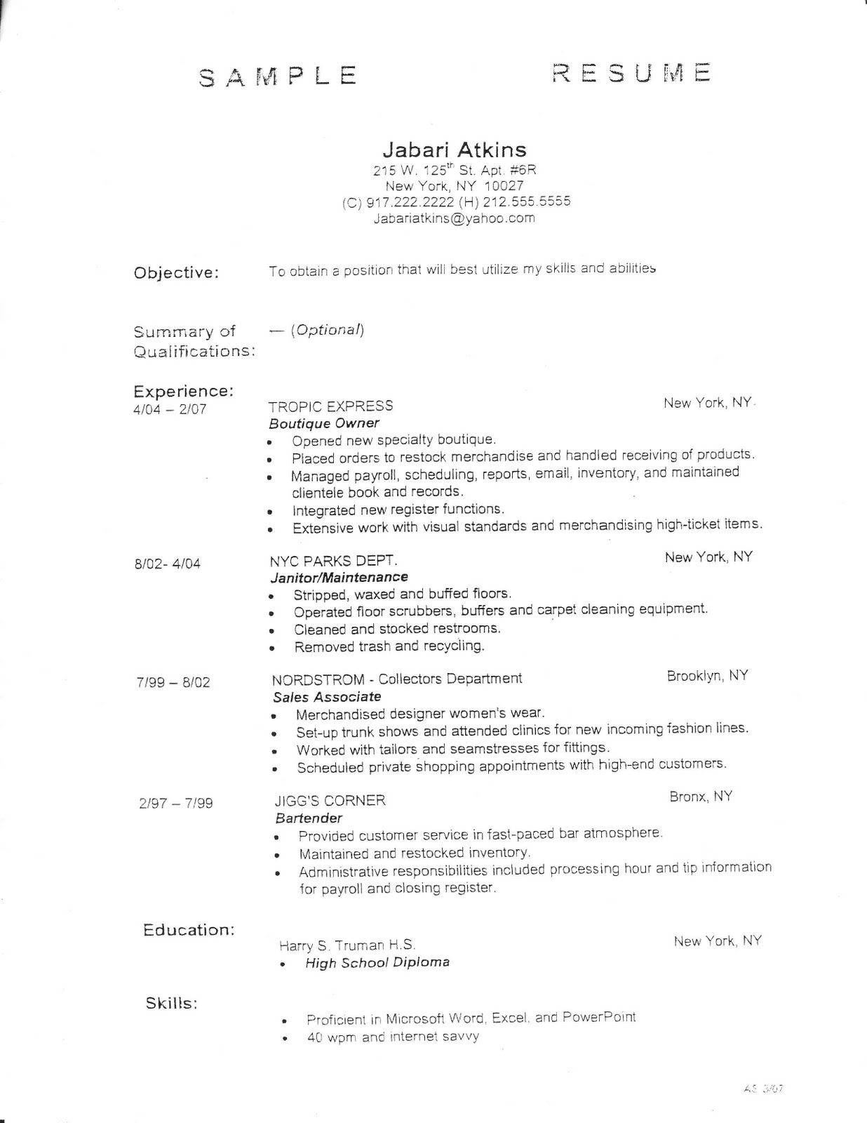 employment fitness zone resume outline and sample resumes samples