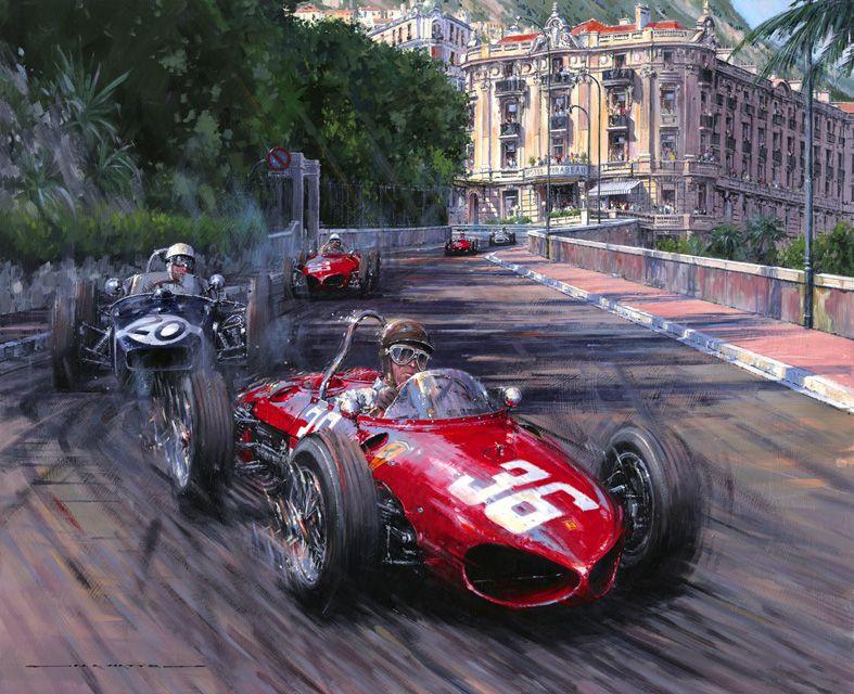 Monaco Grand Prix 1961 Ritchie Ginther In The Ferrari Tipo 156 Auto Racing Art Motorsport Art Racing Art