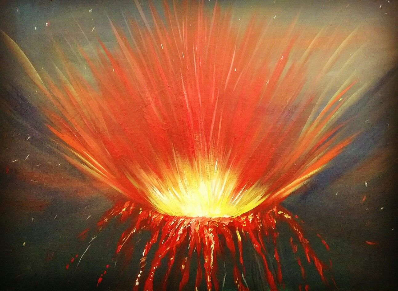 """Fury"" Volcanic eruption, Acrylic on 20x30 canvas"