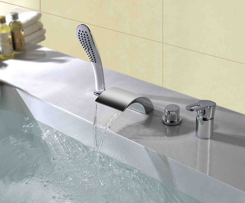 Attractive Chrome Plated Ceramic Valve Waterfall Bathtub Faucet At FaucetsDeal.com