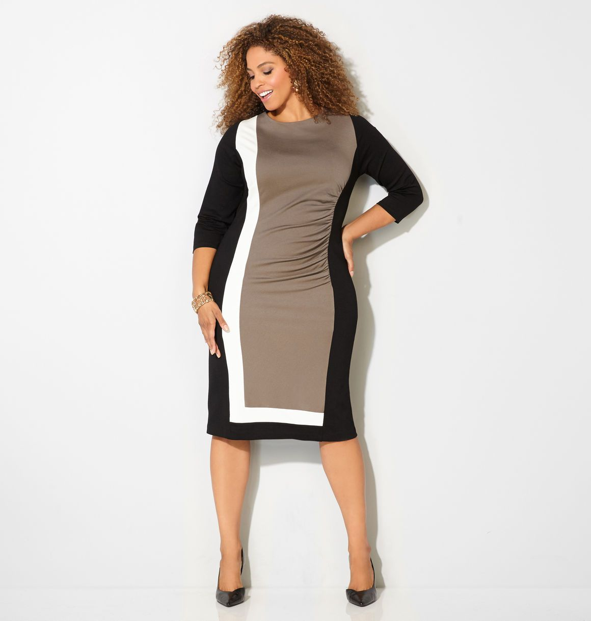 Shop beautiful new fall dresses in sizes 14-32 like the Colorblock ...