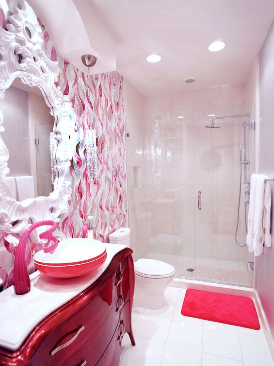 Little Girl Red Bathroom Design     Www.faucetx.com