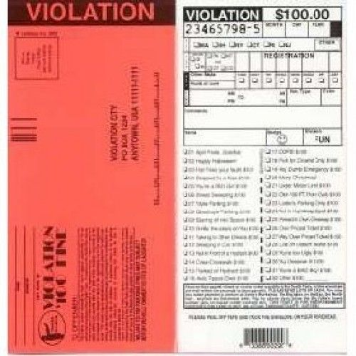 Fake $100 Parking Violation Tickets - 6pk Funny Humorous Odd - fake ticket template