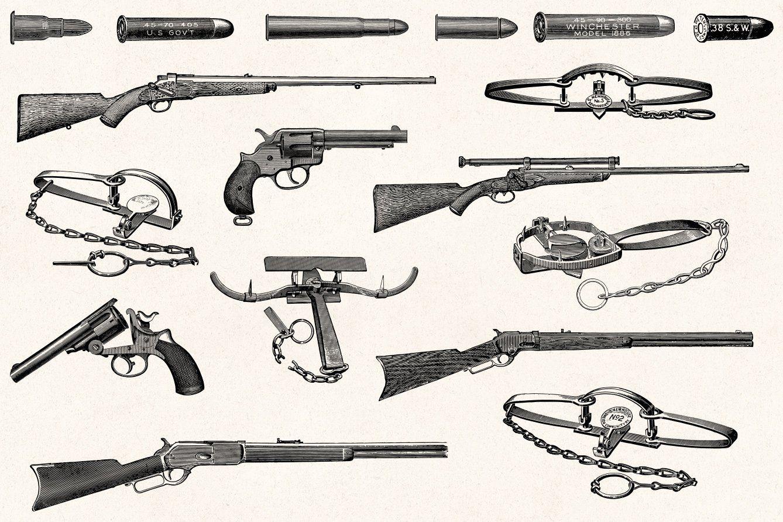 Hunting Vintage Illustrations Fusil Dessin Loup Garou Jeu Fusil De Chasse