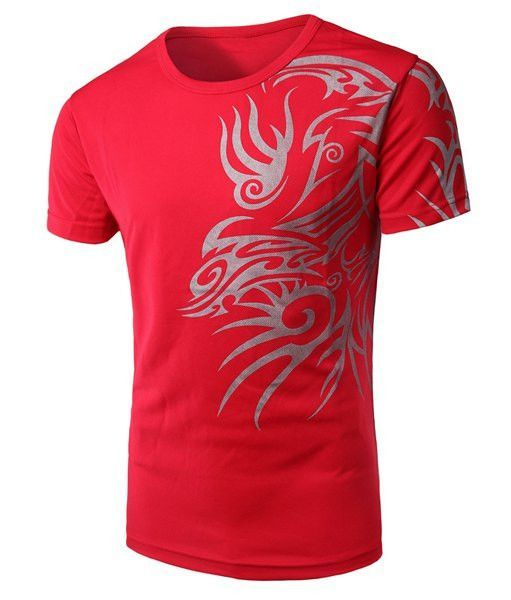 Round Neck Chinese Style Printing Short Sleeve T-Shirt For Men