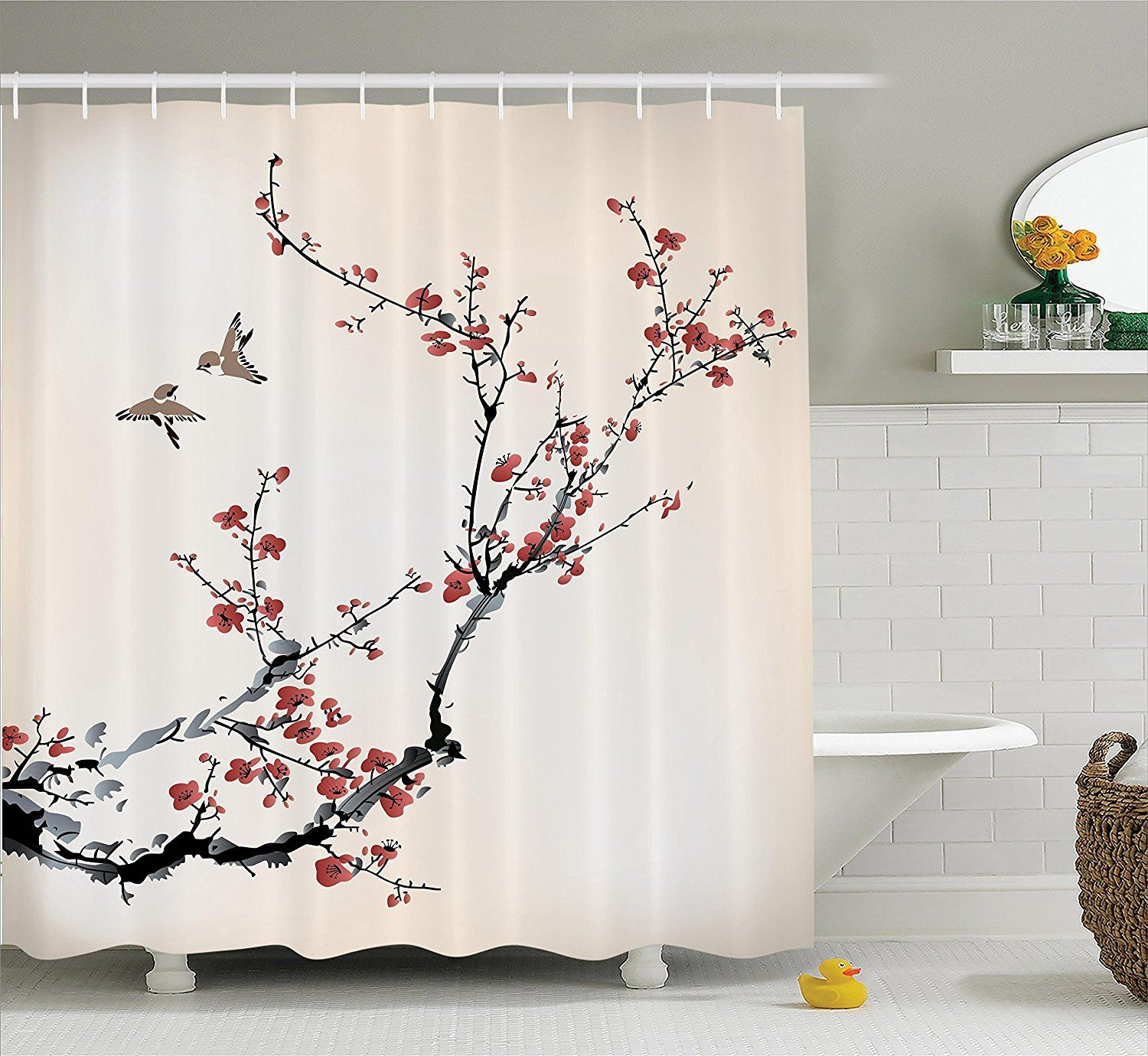 Amazon Com Cherry Blossom Shower Curtain Decor By Ambesonne Cherry Branches Flowers Buds And Birds Asian Style Artwork With Painting Effect Bathroom Decor Sets