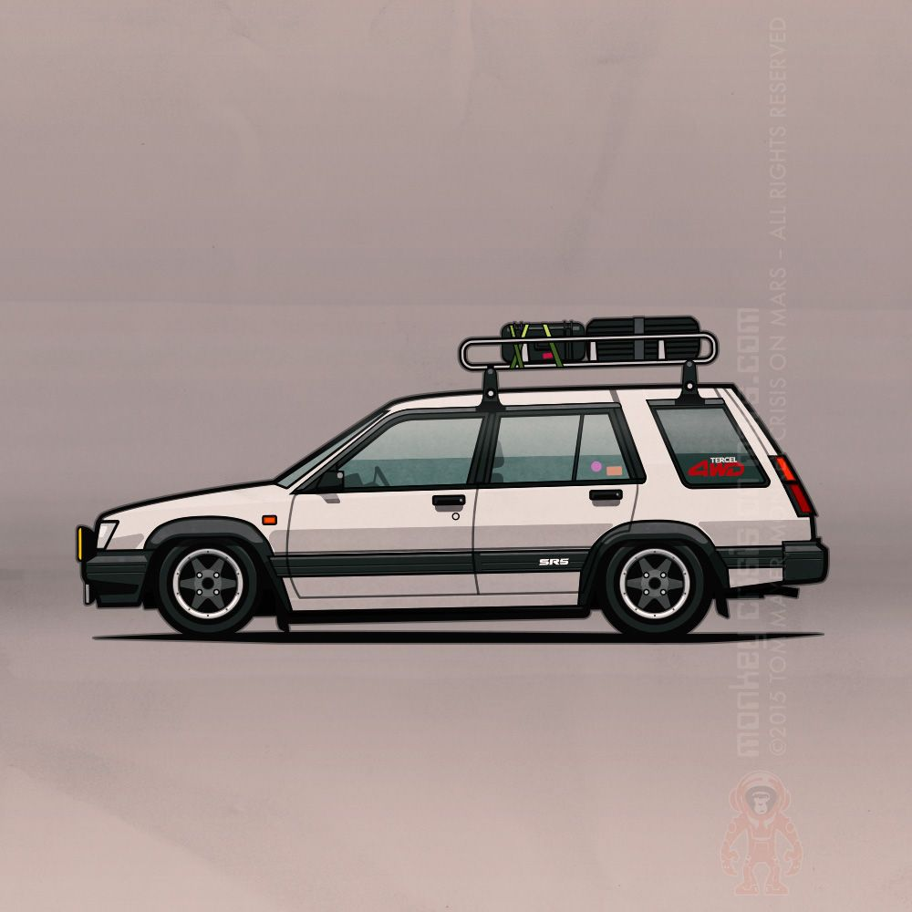 Side view of 5 Toyota Tercel Wagons (chassis code AL25):White slammed wagon  with aftermarket wheels, roof rack and textured fender flares White with  blue ...