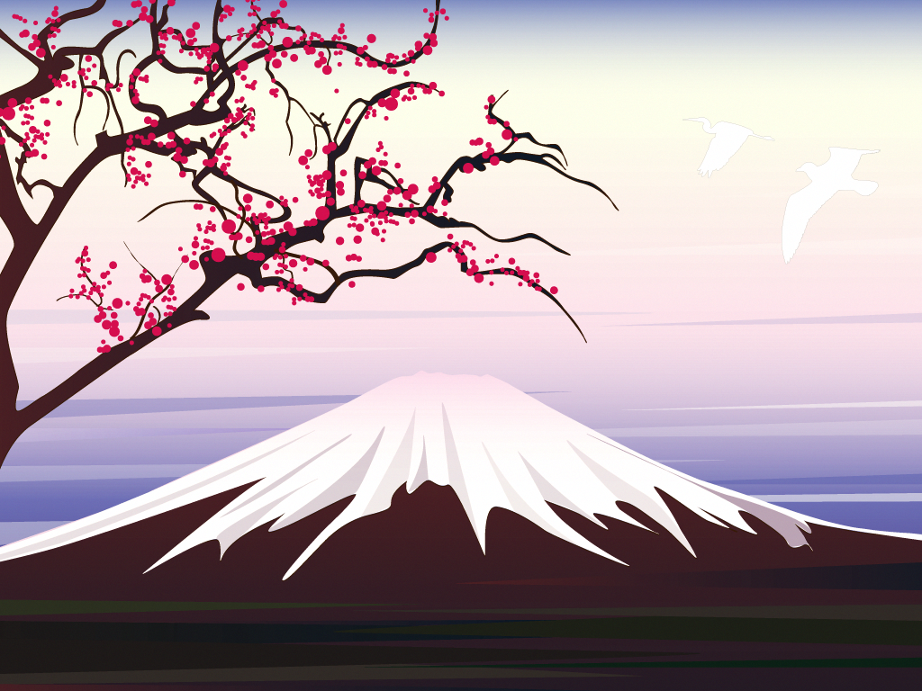 Scenic view of lake and mountains against blue sky. Sakura Tree Drawing Easy Paint Illustration Experiment Dawn Over Mount Fuji Mount Fuji Cool Landscapes Mountain Illustration