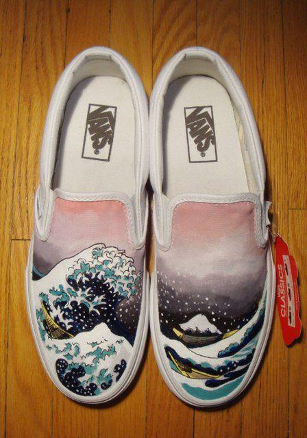 Fancy Japanese Waves Custom Designed Vans Slipoffs With