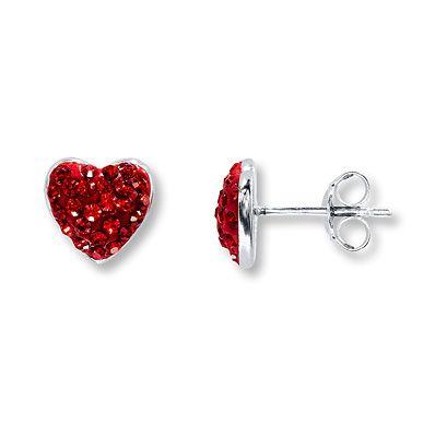 Kay Jewelers Heart Earrings Swarovski Elements Sterling Silver