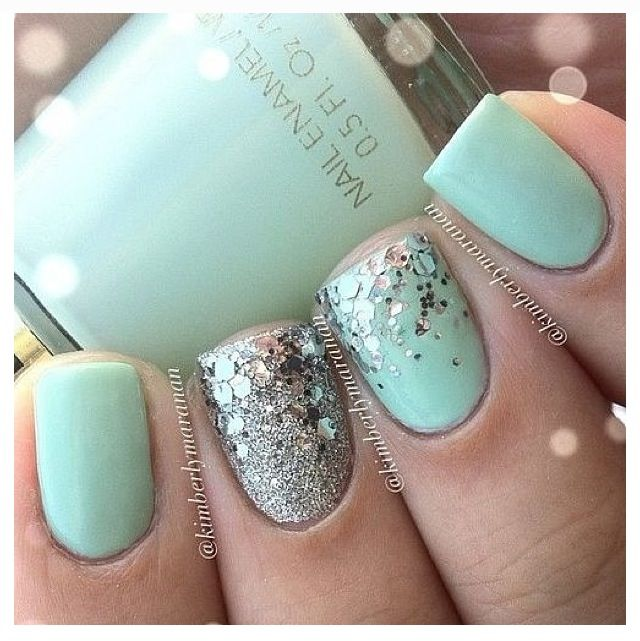 mint green nails with gold glitter