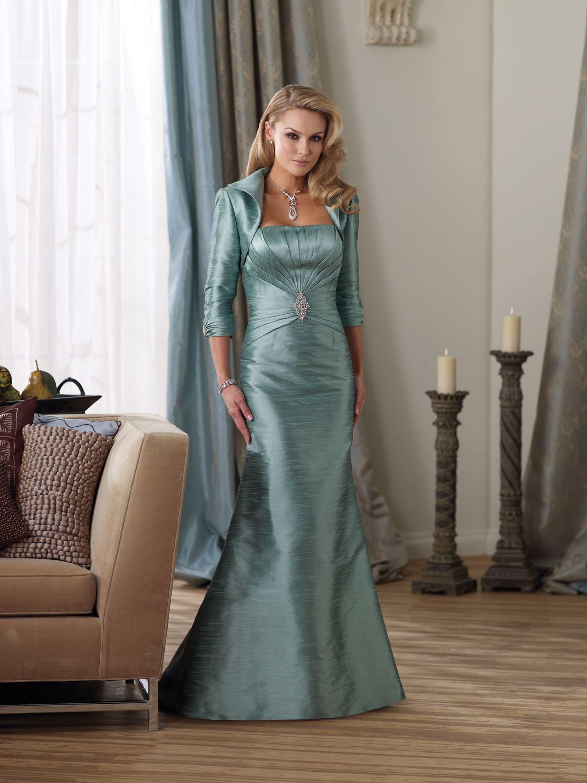 Twopiece silk essence suit, strapless Aline dress