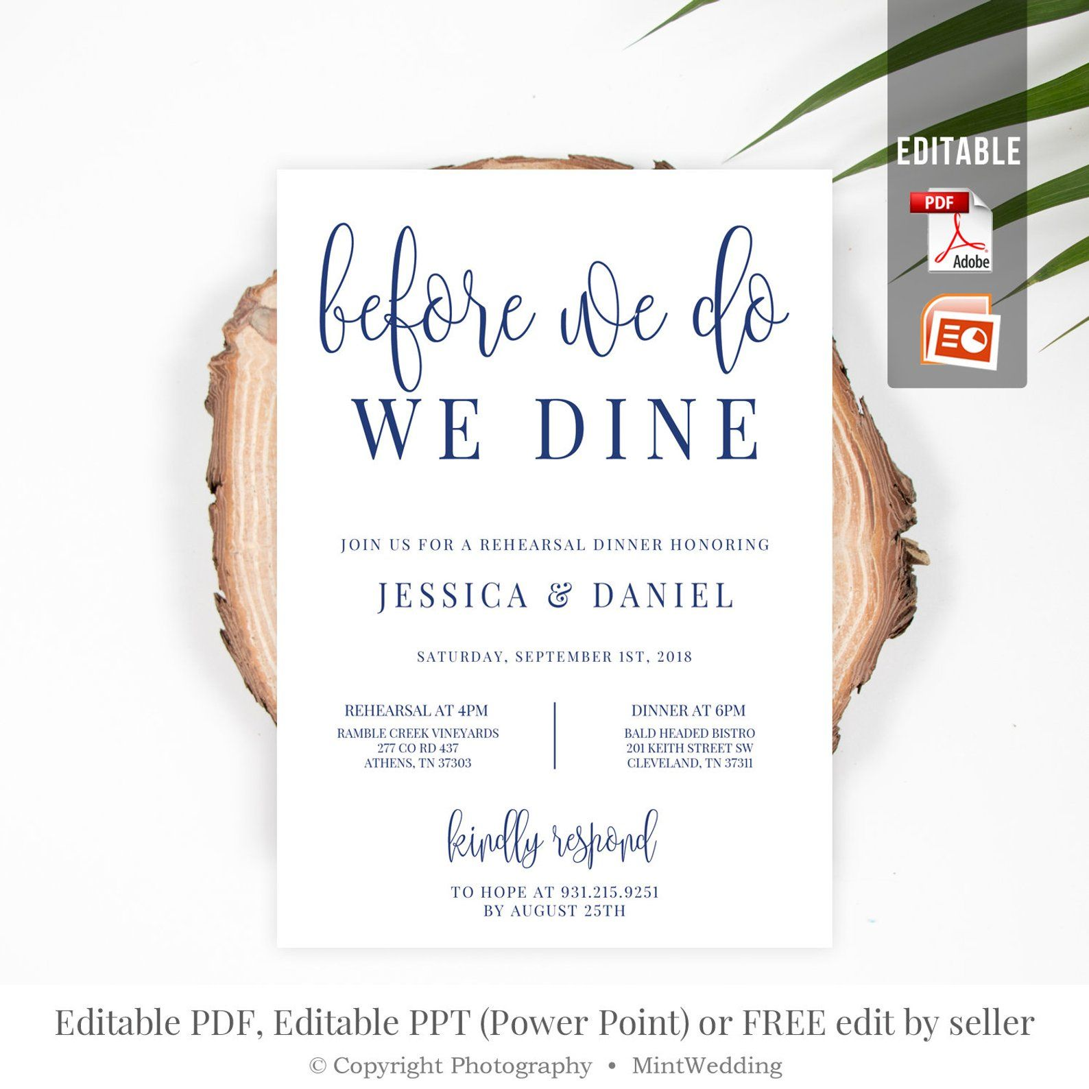 Navy Before We Do We Dine Invitation Template Printable  Etsy