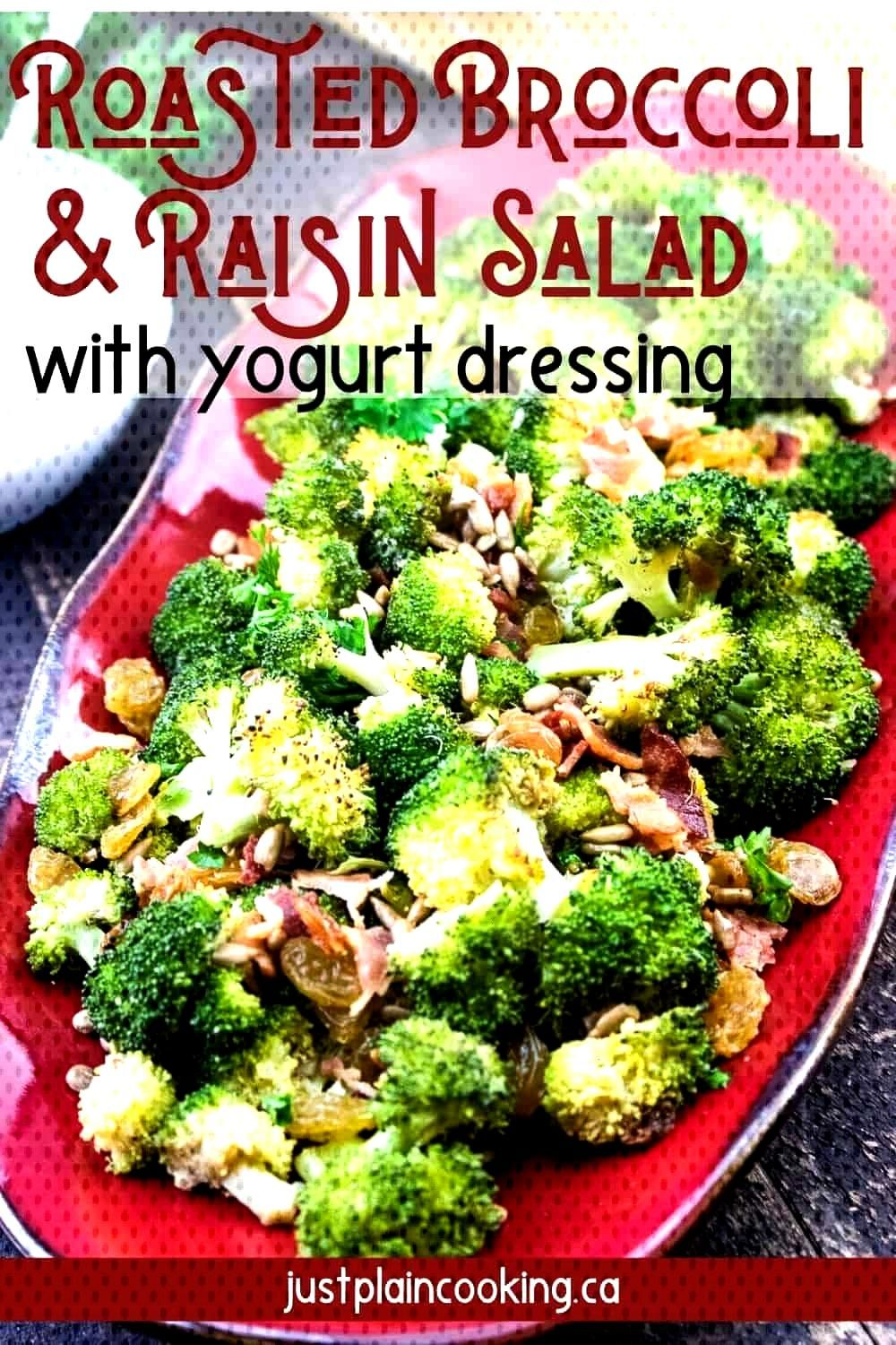 Put down the lettuce and try this hearty and filling Roasted Broccoli Salad filled with raisins, ba
