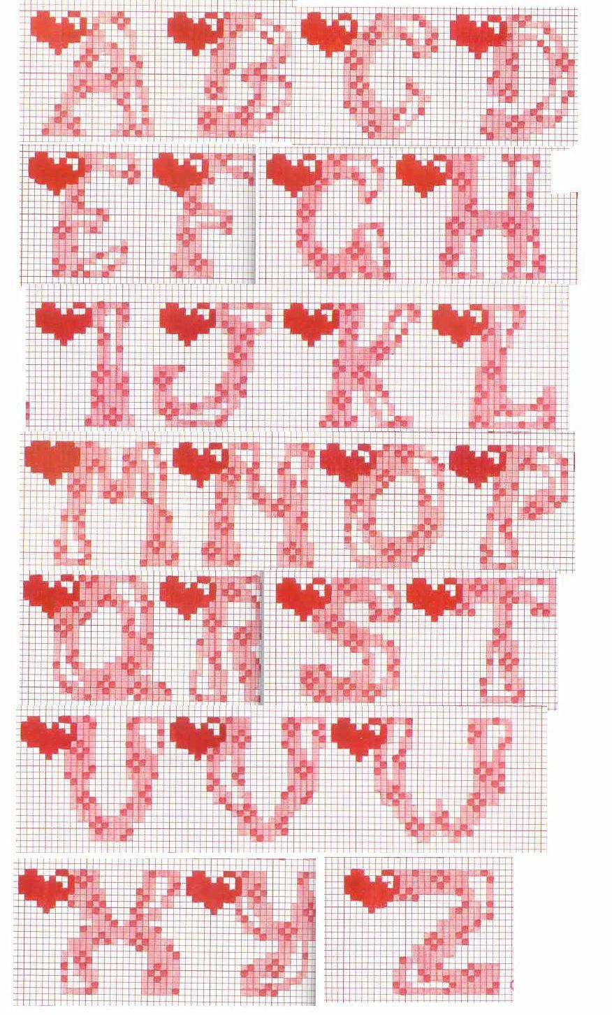 Ricamo Punto Croce Lettere Of Schema Alfabeto Cuore Punto Croce Cross Stitch Letters