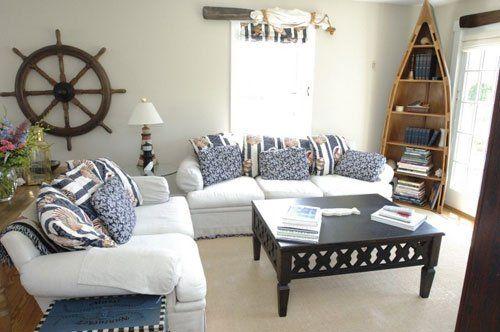 Nautical Ship Wheel As Home Decor Accessory Beach Theme Living Room Nautical Living Room Nautical Decor Living Room