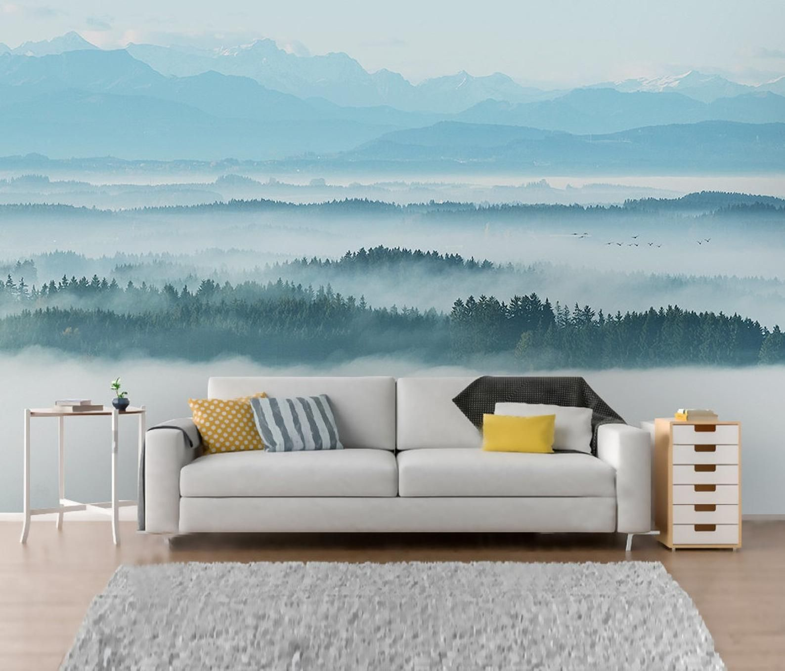 Self Adhesive Peel and Stick Misty Forest Wallpaper
