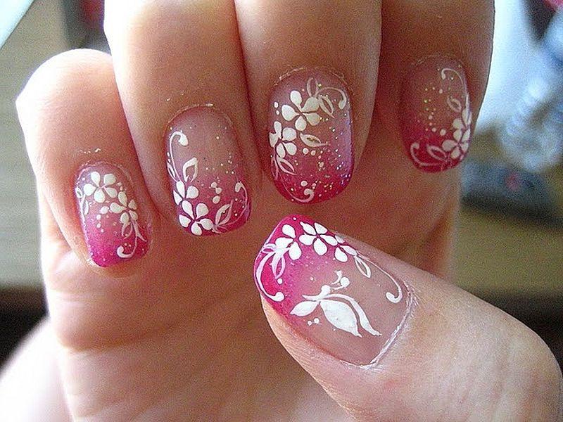 more floral nails | Rose nail design, Floral nails, Nail