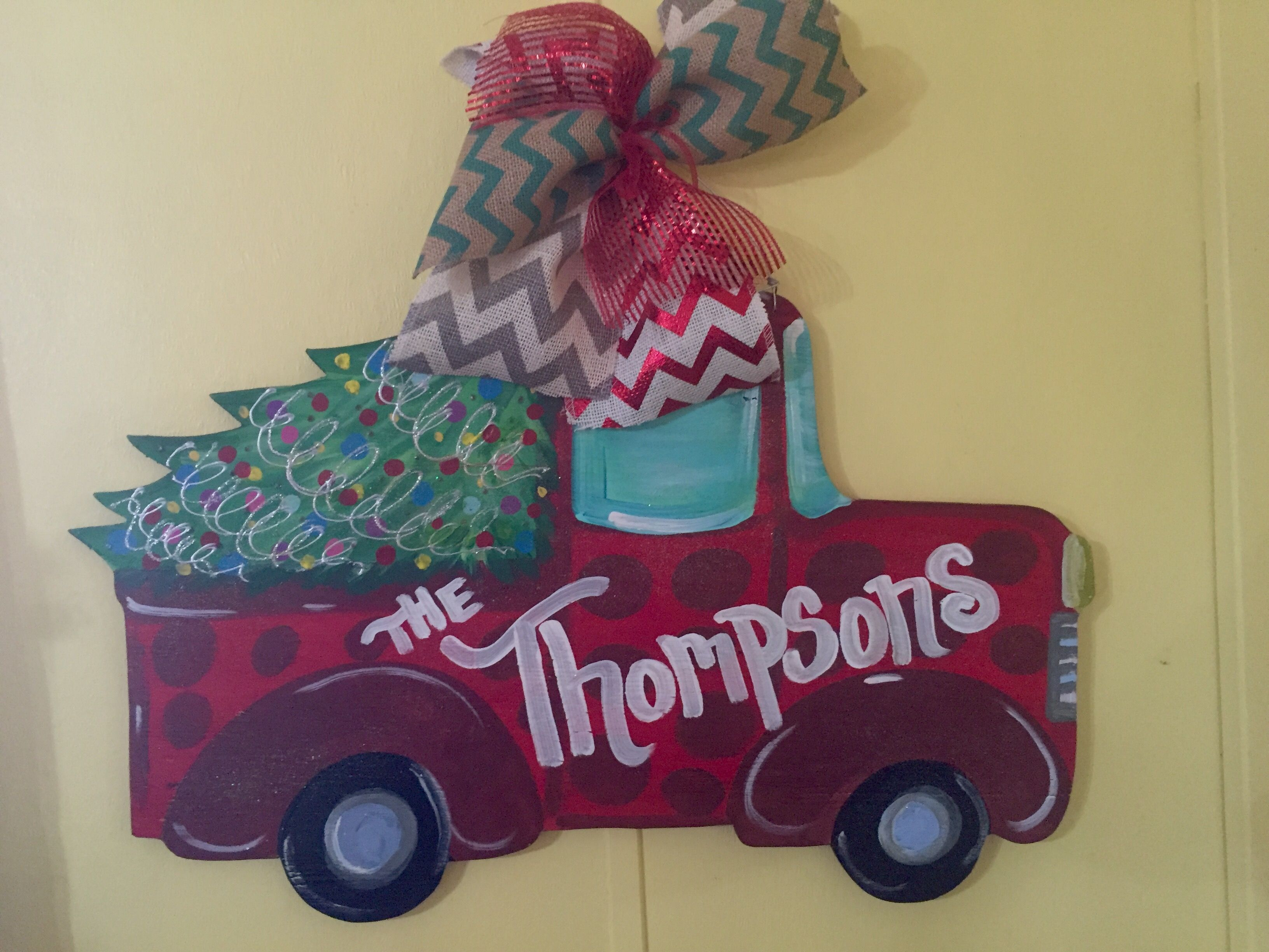 I Painted This Truckchristmas Tree Door Hanger With Familys Last