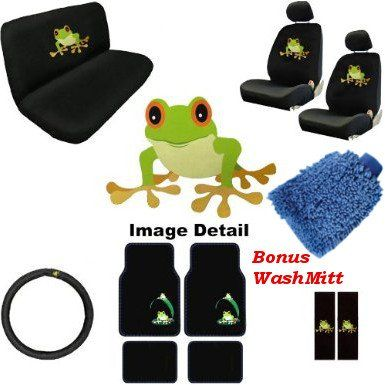 16pc Frog Premium Auto Car Truck Interior Gift Set Seat Covers Floor Mats Set Includes 2 Front Bucket Bench St Car Interior Accessories Frog Green Frog