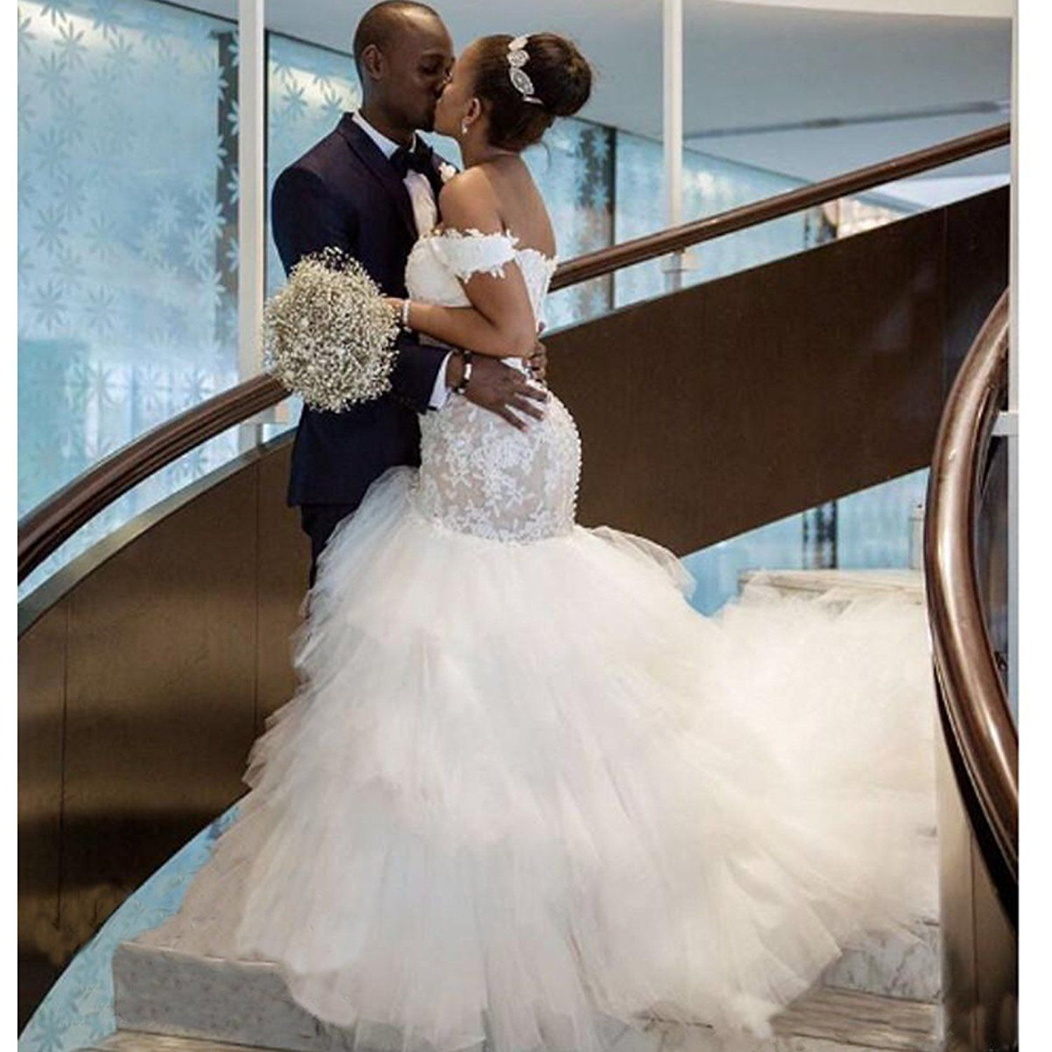 Yuxin Modest Mermaid Wedding Dresses 2018 Off Shoulder Ruffles Tulle Lace Bridal Gowns At Amazon 159 W Ball Gowns Wedding Bridal Gowns Mermaid Wedding Dresses