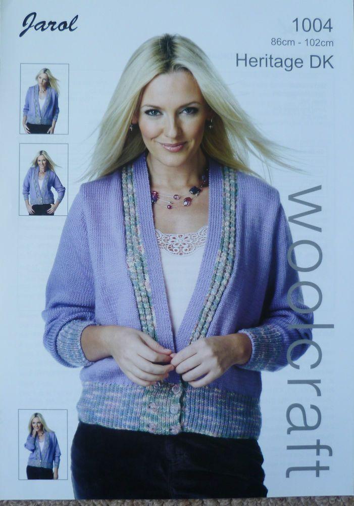 Jarol Woolcraft Knitting Pattern 1004 Heritage Dk V Neck Cardigan