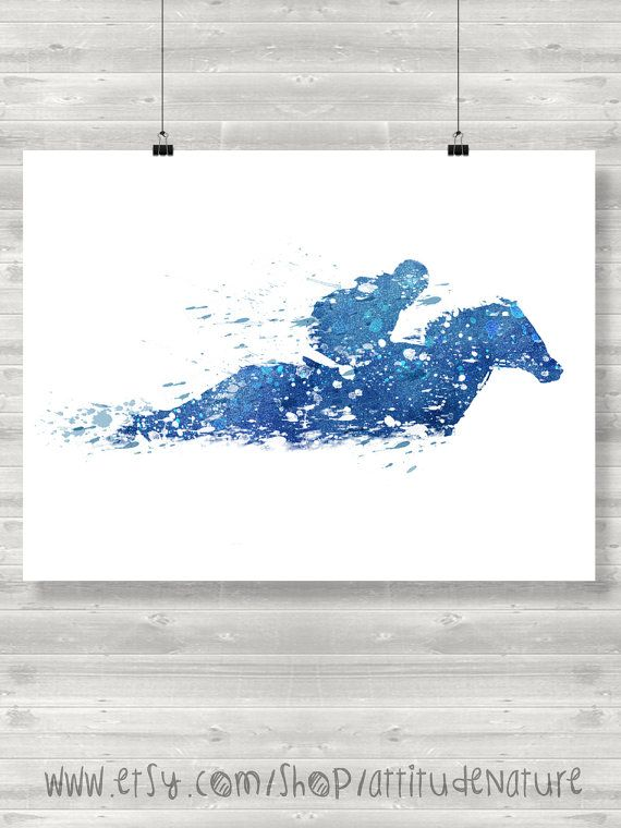 Racing Horse Watercolor print poster - BUY 1 GET 1 FREE