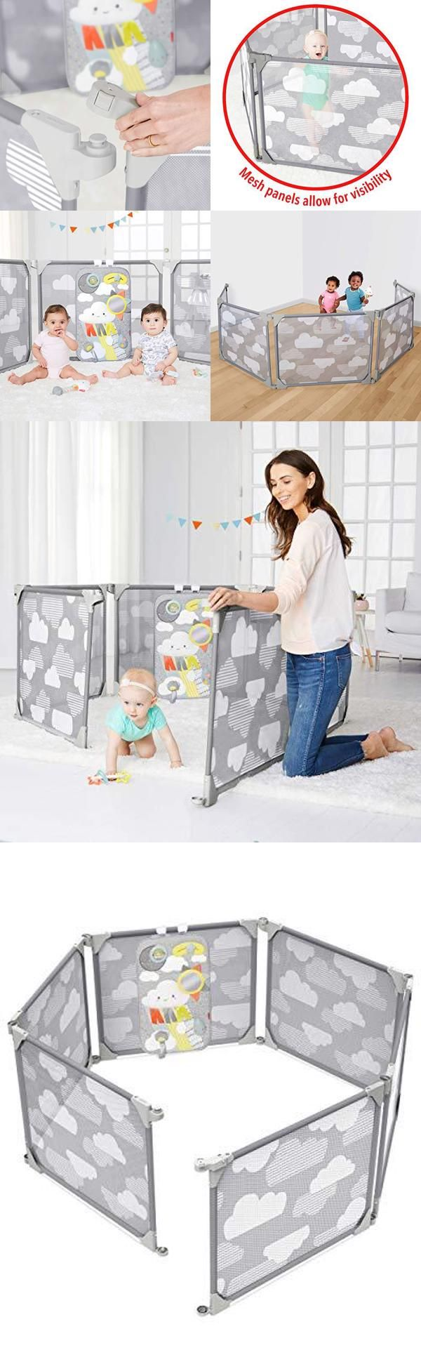 Skip Hop Baby Gate Expandable Or Wall Mounted Playpen With Clip On Play Surface Silver Lining Cloud Omomashop In 2020 Baby Gates Playpen Baby Proofing
