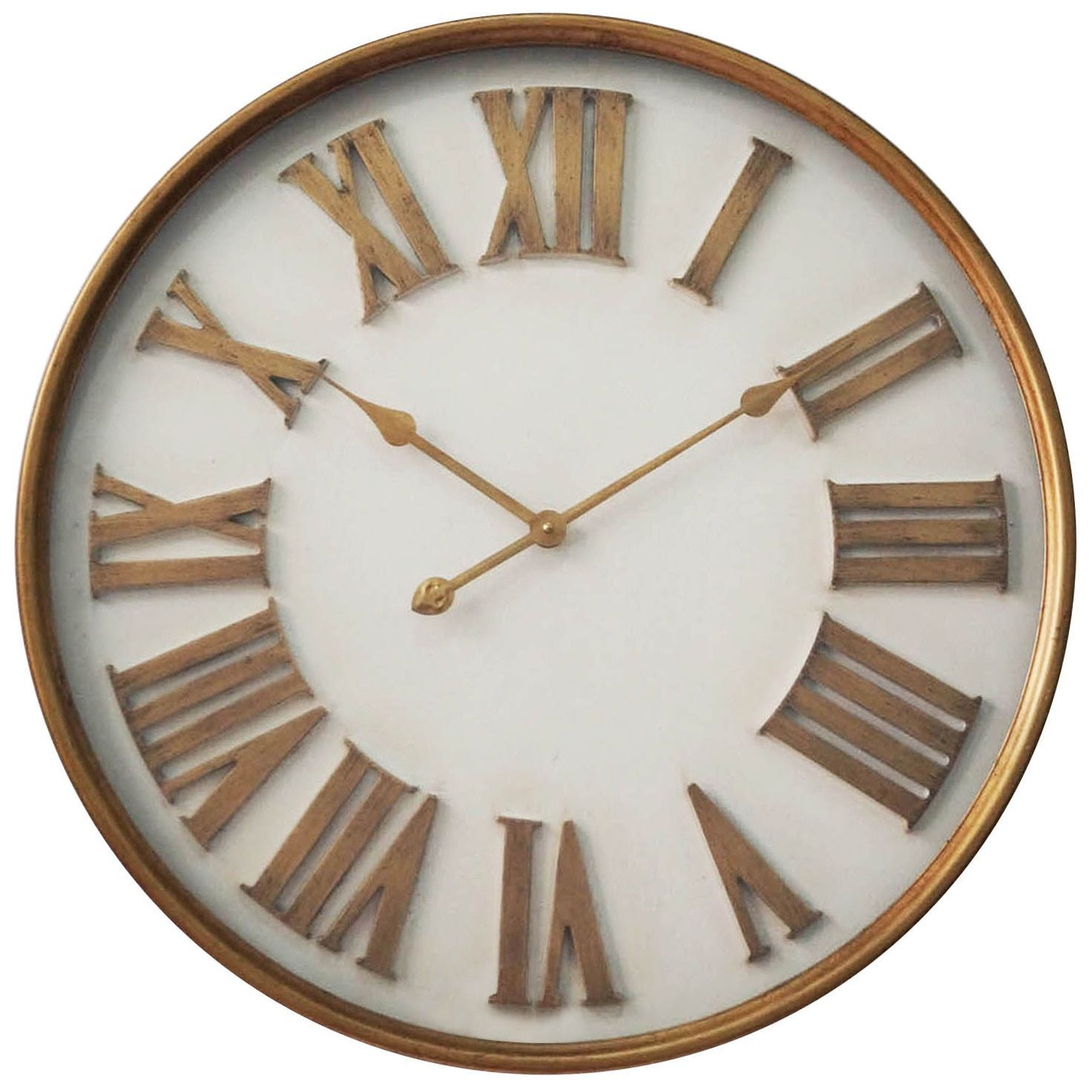 Infinity instruments white with gold roman numerals 27 inch wall infinity instruments white with gold roman numerals 27 inch wall clock gold roman numerals aluminum amipublicfo Choice Image