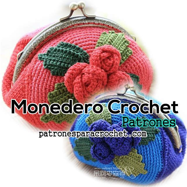 Monedero crochet / Moldes y patrones   Crochet, Crocheted bags and Coins
