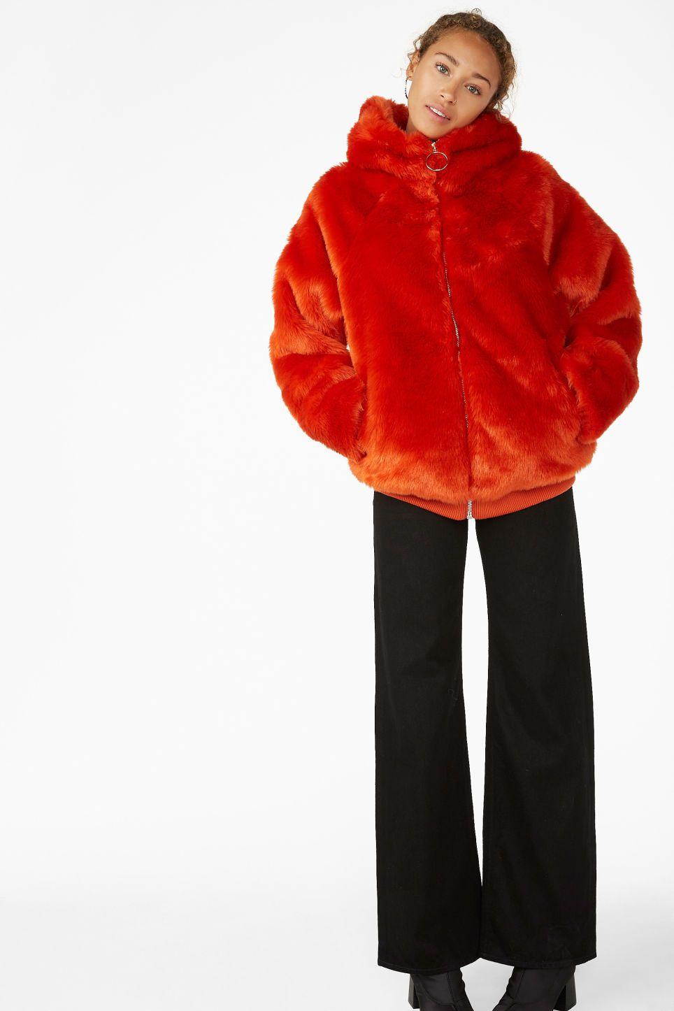 3b56ffcfe Hooded faux fur jacket - Orange goes red - Coats & Jackets ...