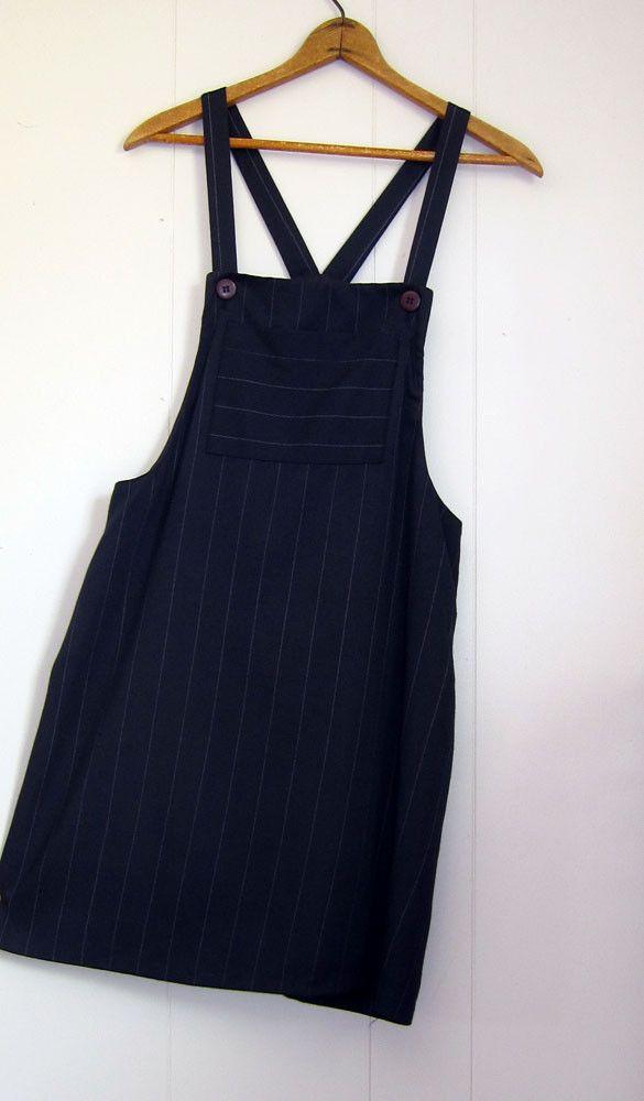5d6894d6af2d 90 s Vintage Suspender Overalls Mini Dress Pinafore Bib Pinstripe M ...