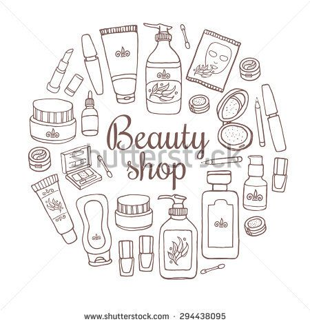 Glamorous Hand Drawn Card Template With Make Up Objects A