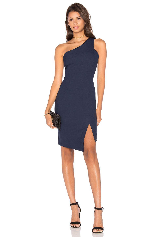 3900f9cb2190 Bobi BLACK Woven Crepe One Shoulder Bodycon Dress in Navy   REVOLVE ...
