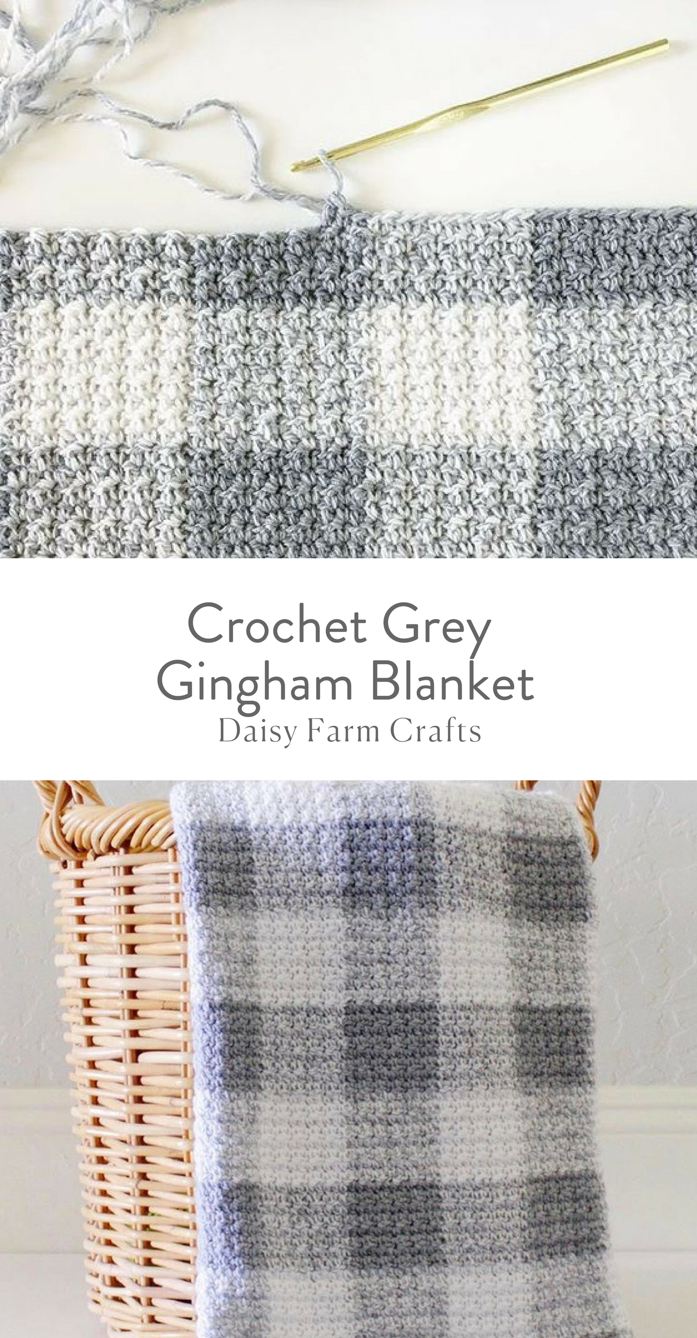 Free Pattern - Crochet Grey Gingham Blanket | ganxillo | Pinterest ...