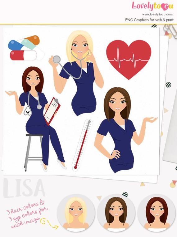 Woman Nurse Character Clipart Healthcare Illustration Nursing Clipart Set With Blonde Brunette And Auburn Hair Lisa L071 Nurse Clip Art Women Nurse American Skin