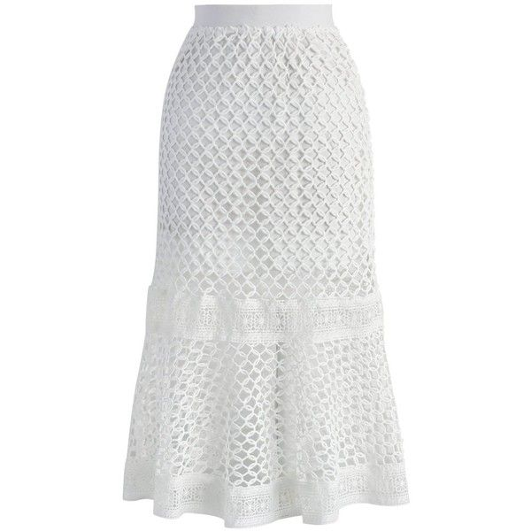Chicwish Go for Fancy Crochet Frill Hem Skirt in White (£32) ❤ liked on Polyvore featuring skirts, white, circle skirt, print skirt, floral knee length skirt, elastic waist skirt and floral circle skirt
