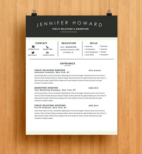 Resume Template CV Template + Cover Letter Modern Resume - resume and cover letter template microsoft word