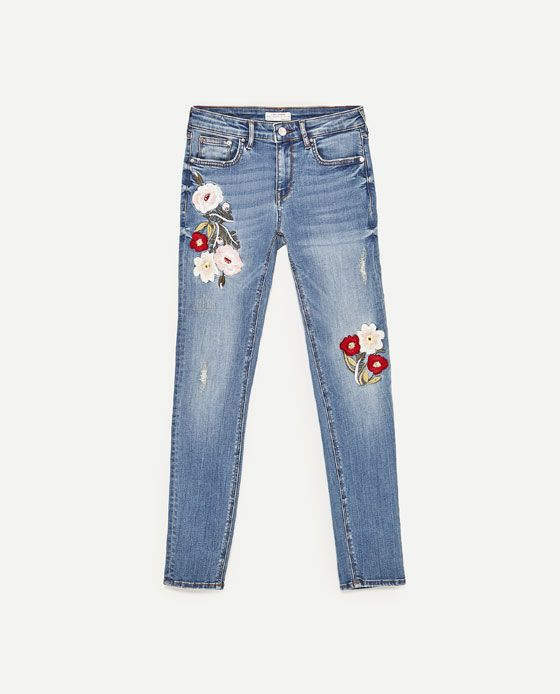 305fd6cd28c Image 8 of PREMIUM COLLECTION EMBROIDERED SKINNY FIT JEANS from Zara ...